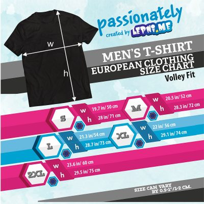 Table of sizes for the Volley fit options of the sports T-Shirt